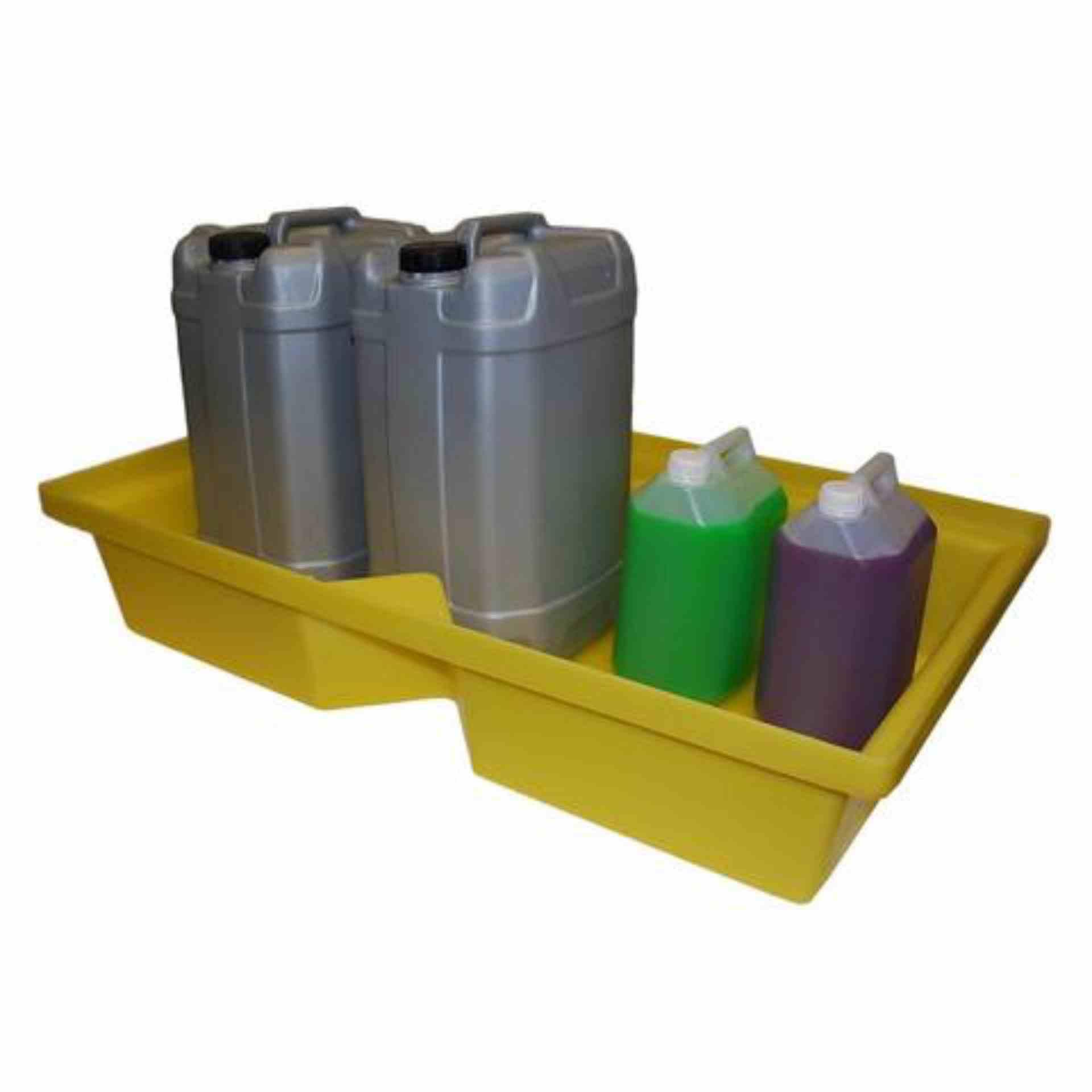 Wanna wychwytowa polietylenowa, bez kratownicy pod małe pojemniki, 63 l, kolor żółty, 1000 x 605 x 200 mm