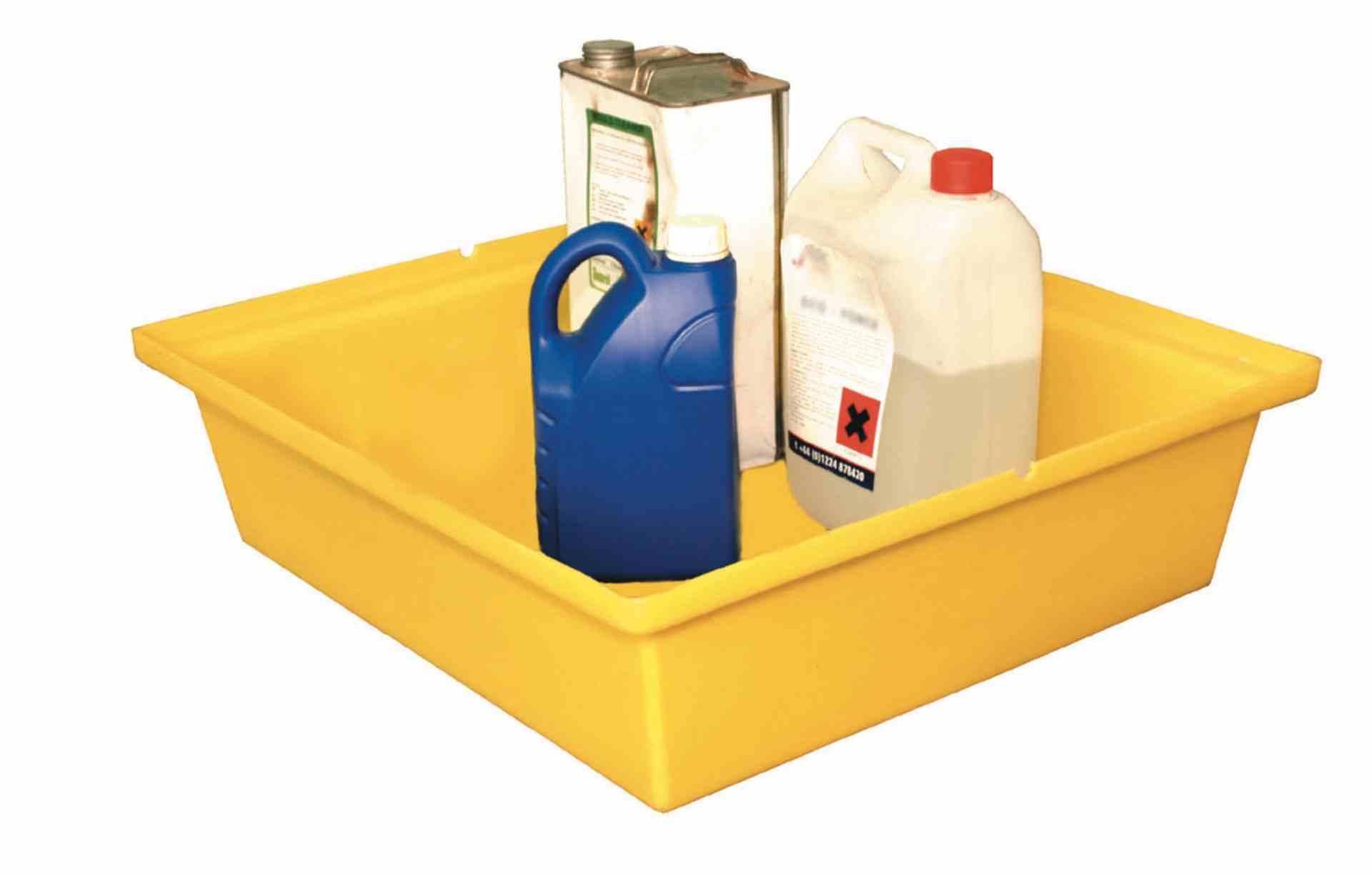 Wanna wychwytowa polietylenowa, bez kratownicy pod małe pojemniki, 45 l, kolor żółty, 630 x 590 x 170 mm