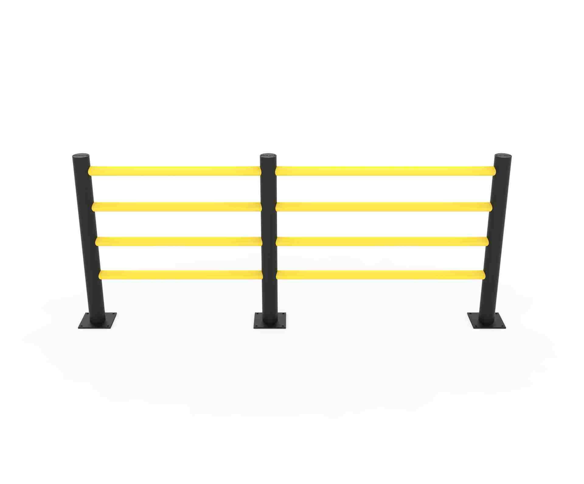 Modułowa elastyczna bariera do zabezpieczenia ciągów pieszych D z 4 belkami