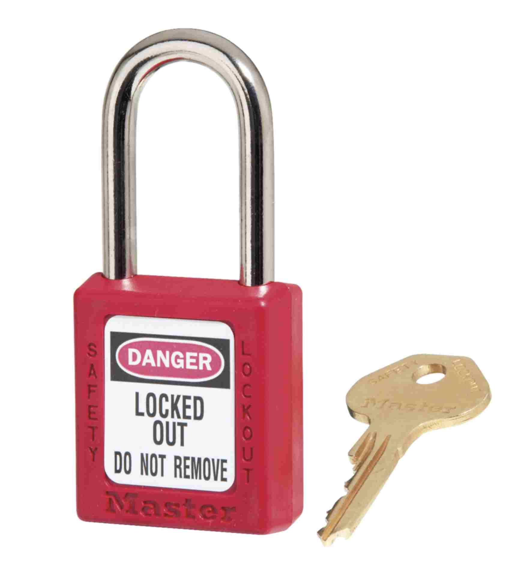 Kłódka zabezpieczająca korpus kompozytowy/kabłąk stalowy 6 mm/klucz KA,czerwona