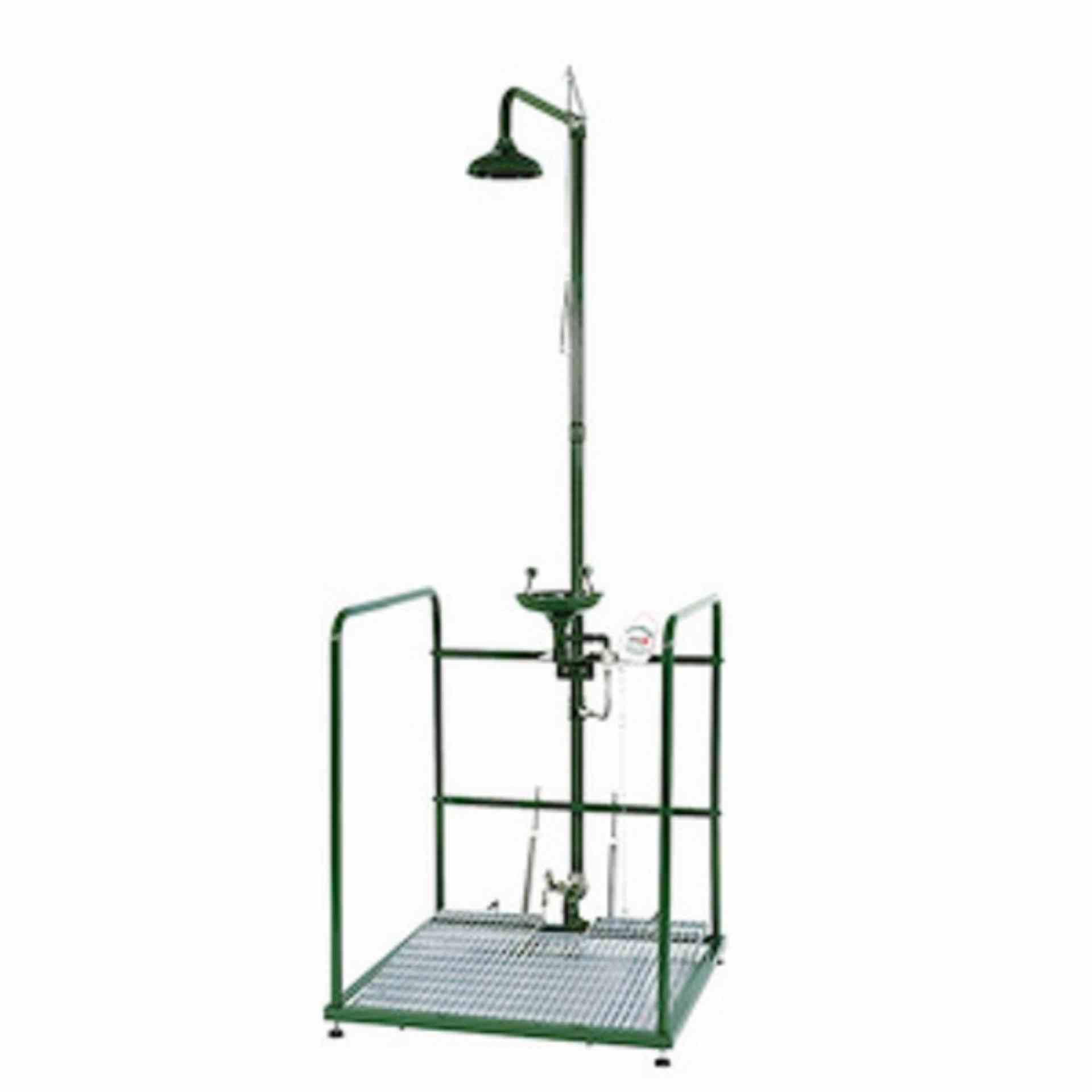 Urządzenie łączone prysznic i oczomyjka na platformie, elementy ze stali nierdzewnej