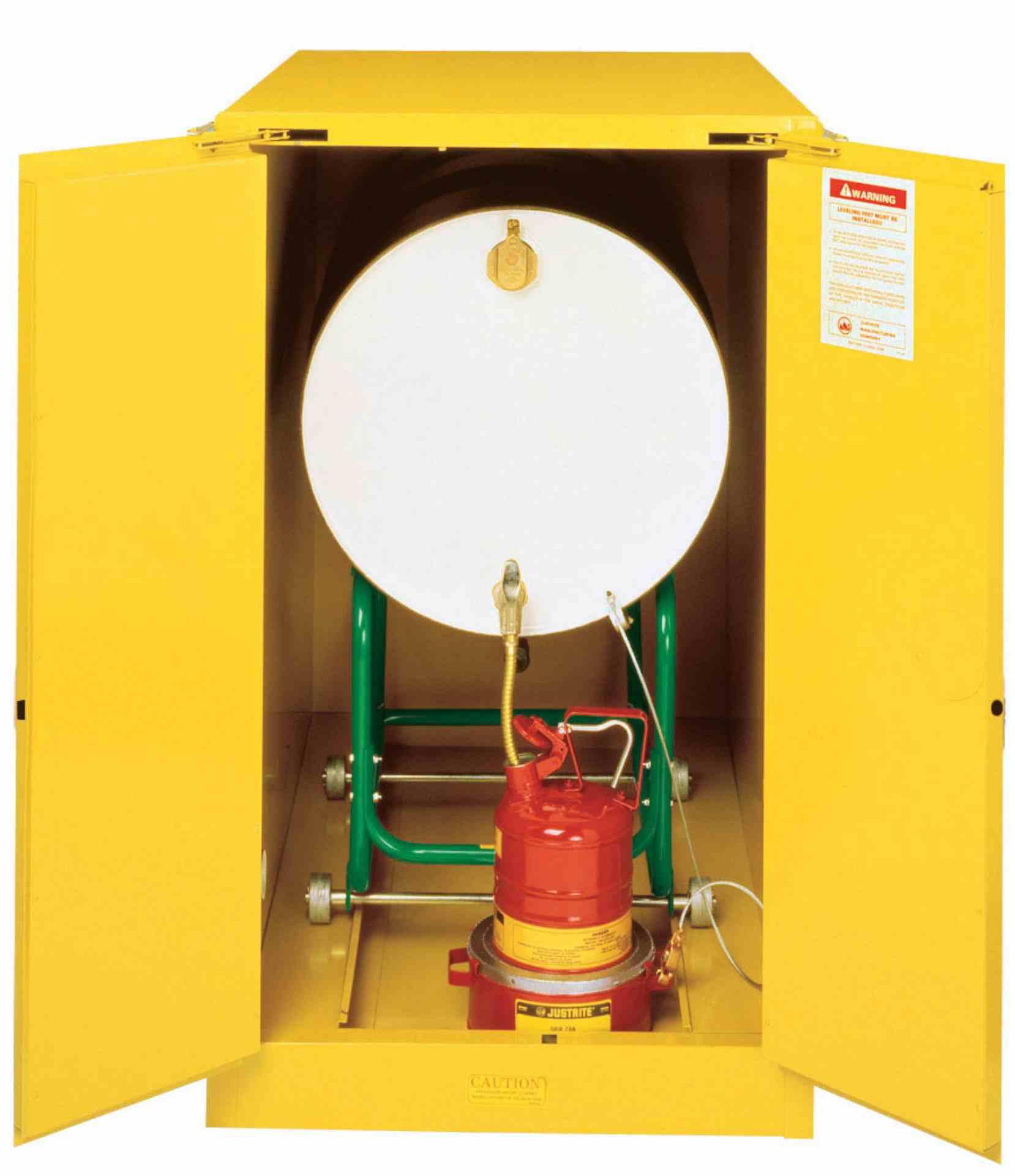 Szafa zabezpieczająca na 1 beczkę/poziom 200 l. dwudrzwiowa zamknięcie automatyczne 1270 x 762 x 1219 mm