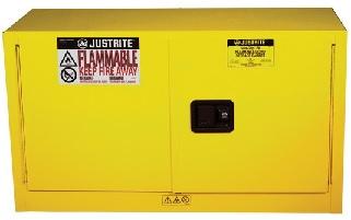Szafa zabezpieczająca 64 l. dwudrzwiowa zamknięcie automatyczne 1092 x 457 x 610 mm, żółta