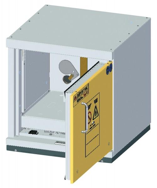 Szafa ognioodporna podstołowa rozmiar S 90 min 600 x 593 x 631 mm, drzwi żółte, korpus szary
