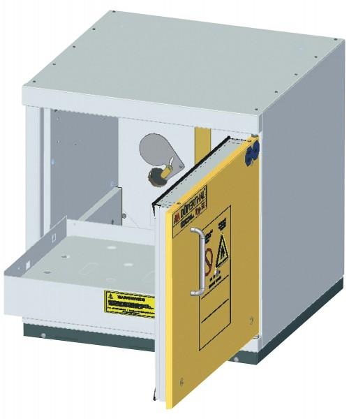 Szafa ognioodporna podstołowa z wysuwaną półką rozmiar S 90 min 600 x 593 x 631 mm, drzwi żółte, korpus szary
