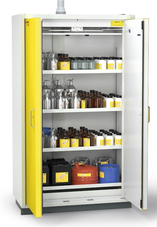 Szafa ognioodporna rozmiar XL 90 min 1194 x 612 x 2085 mm, drzwi żółte, korpus szary JR