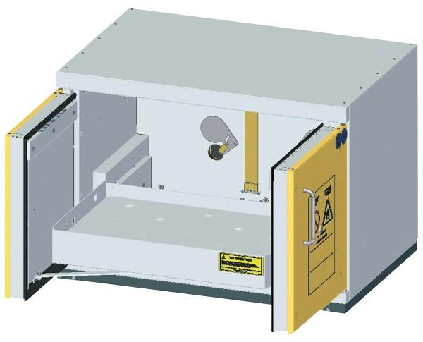 Szafa ognioodporna podstołowa z wysuwaną półką rozmiar M 90 min 888 x 593 x 631 mm, drzwi żółte, korpus szary