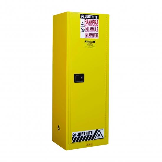 Szafa zabezpieczająca 204 l. jednodrzwiowa zamknięcie automatyczne 591 x 864 x 1651 mm, żółta