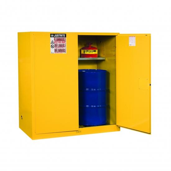 Szafa zabezpieczająca na jedną beczkę/pion 200 l. dwudrzwiowa zamknięcie ręczne 864 x 864 x 1651 mm, żółta