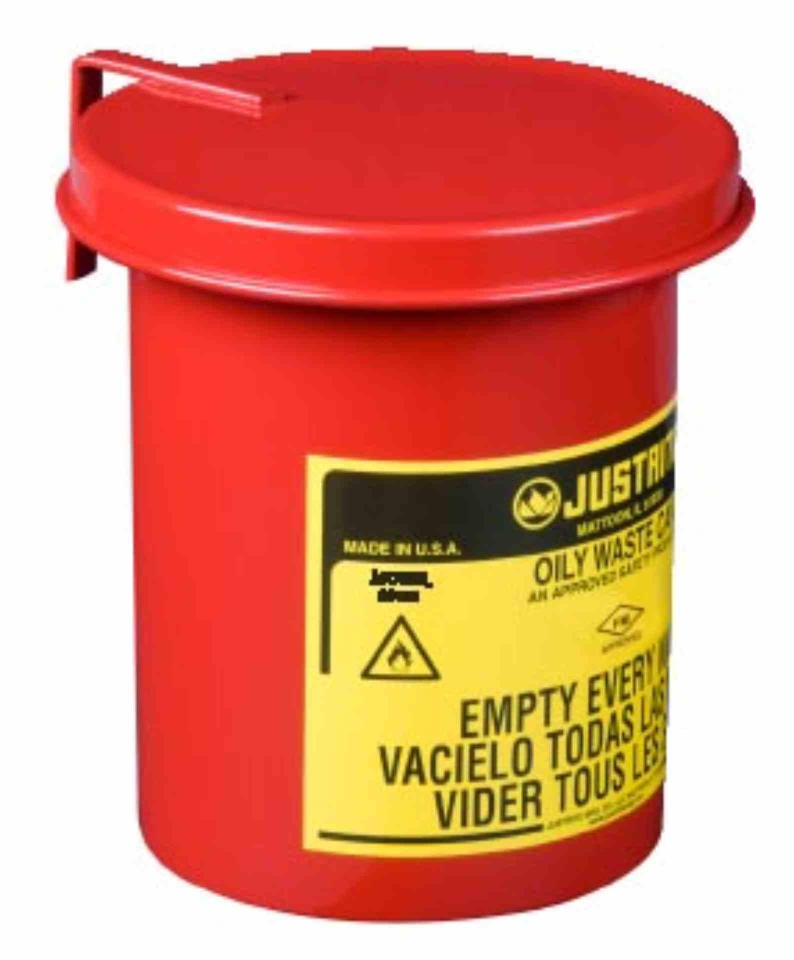 Pojemnik na odpady zaolejone, otwieranie ręczne, z podkładką tłumiącą hałas, czerwony 1,7 l.