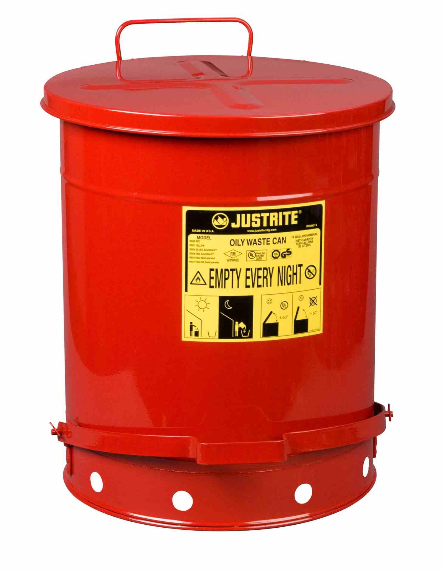 Pojemnik na odpady zaolejone, dźwignia nożna, czerwony 52 l.