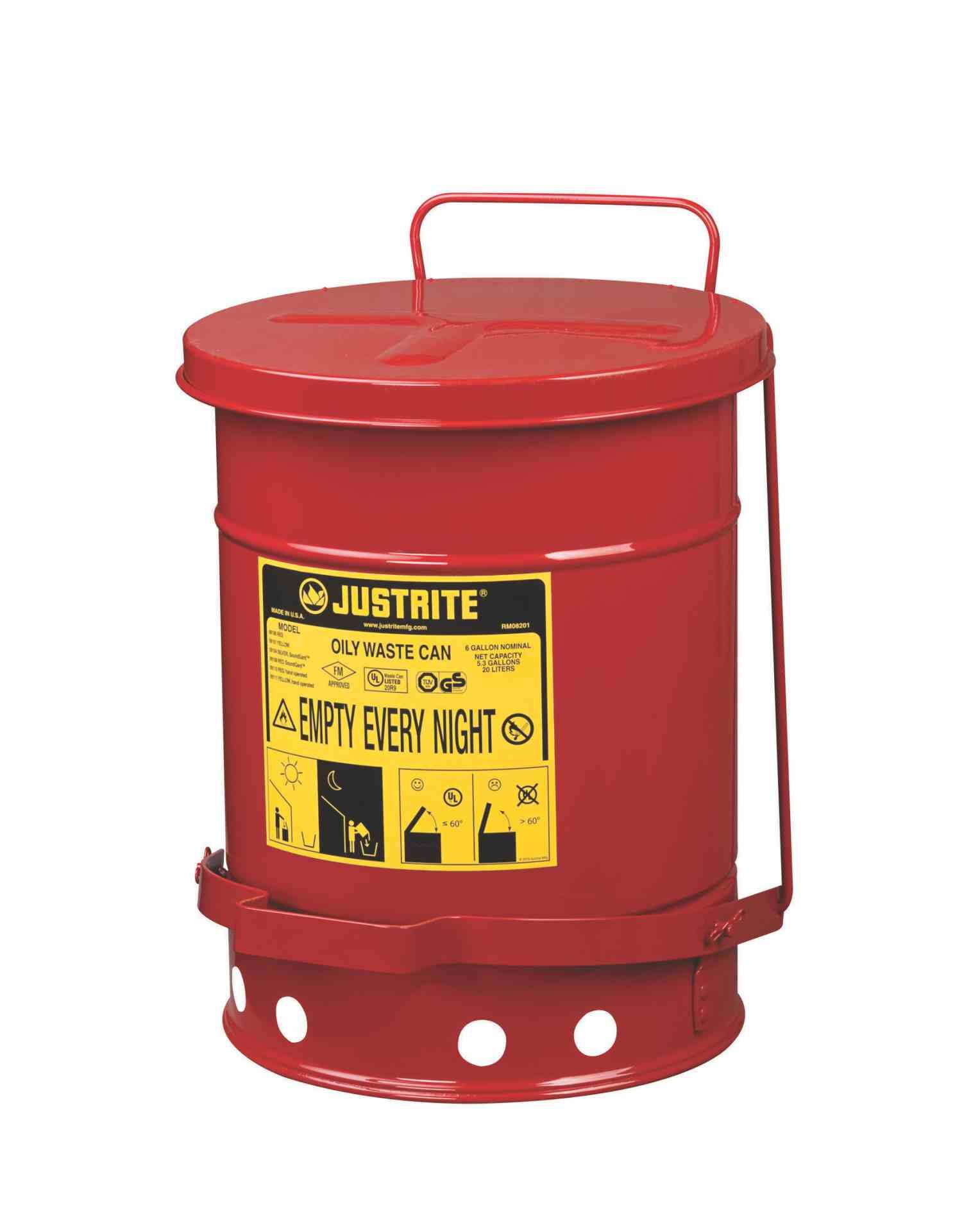 Pojemnik na odpady zaolejone, dźwignia nożna, czerwony 20 l.