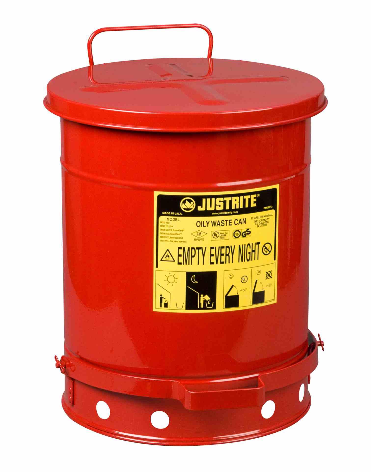 Pojemnik na odpady zaolejone, dźwignia nożna, czerwony 34 l.