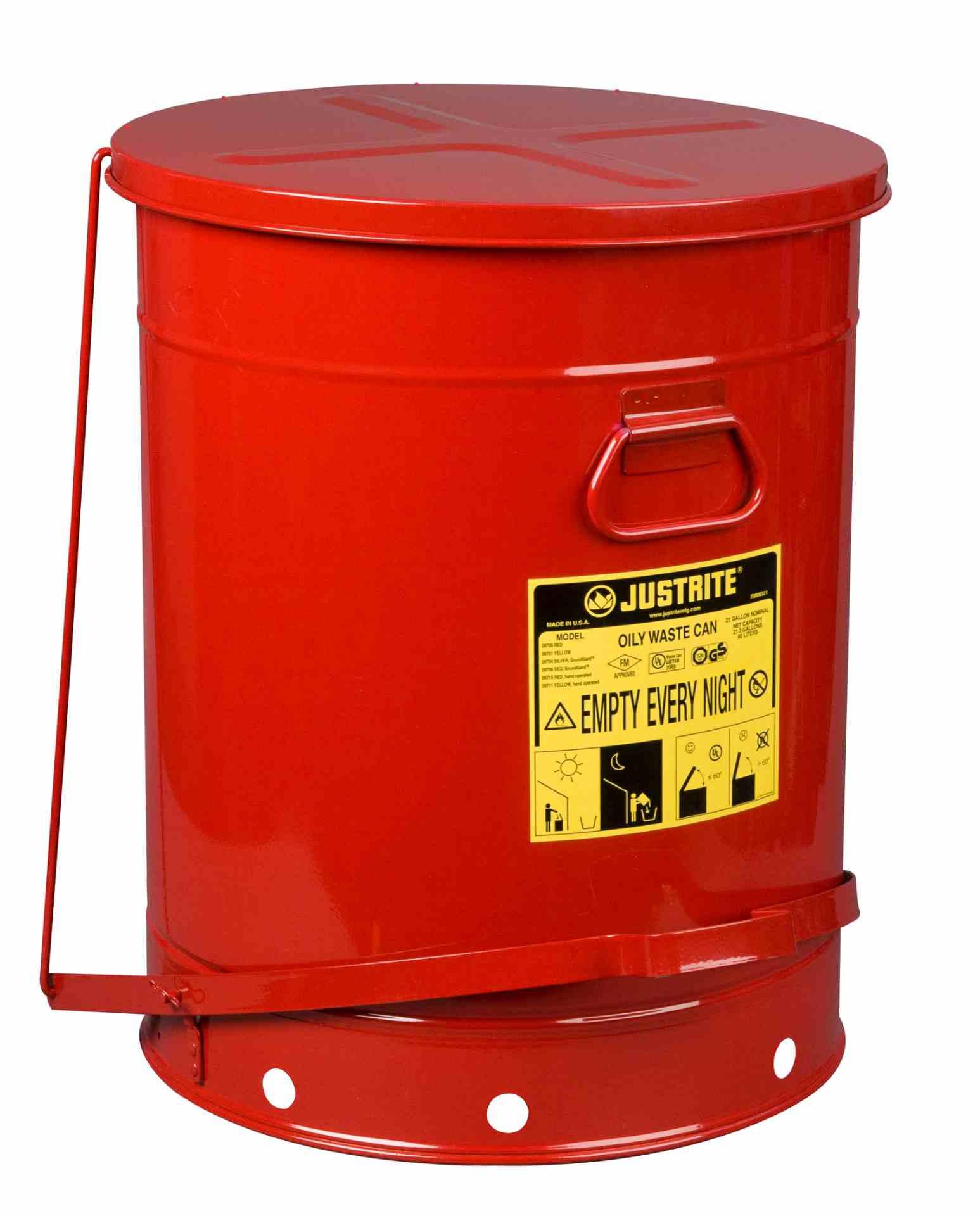 Pojemnik na odpady zaolejone, dźwignia nożna, czerwony 80 l.