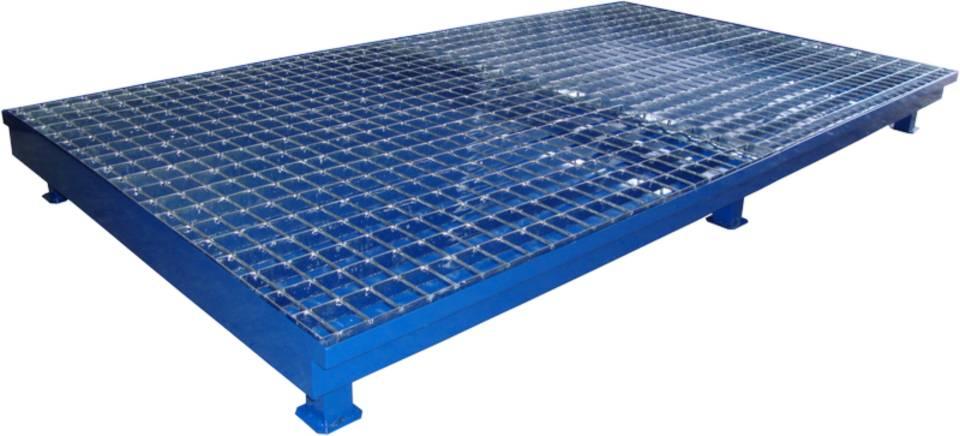 Wanna wychwytowa z kratownicą i stopami, stalowa lakierowana ECONOMY pod 2 IBC 1300 x 2300 x 200 mm