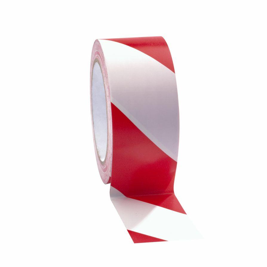 Taśma do wyznaczania ciągów komunikacyjnych 50 mm x 33 m biało-czerwona
