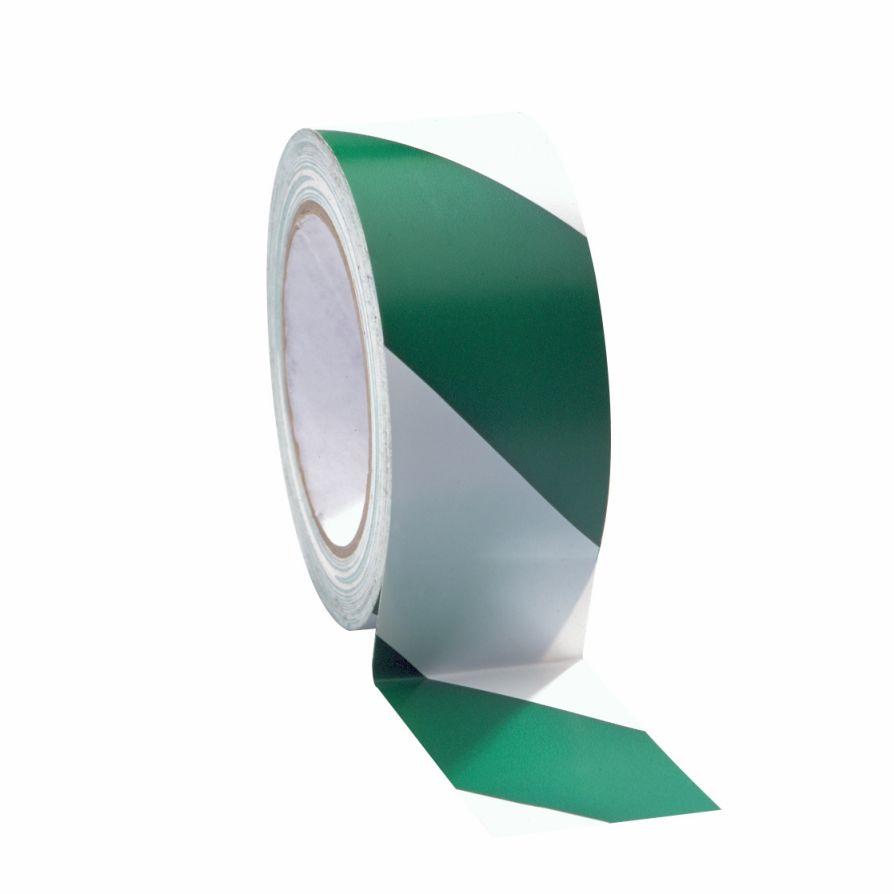 Taśma do wyznaczania ciągów komunikacyjnych 50 mm x 33 m biało-zielona