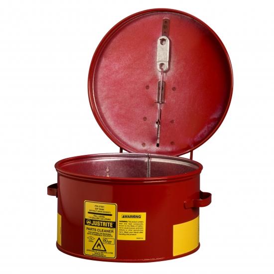 Pojemnik zanurzeniowy na substancje żrące z wkładką HDPE, stalowy, czerowny 19 l.