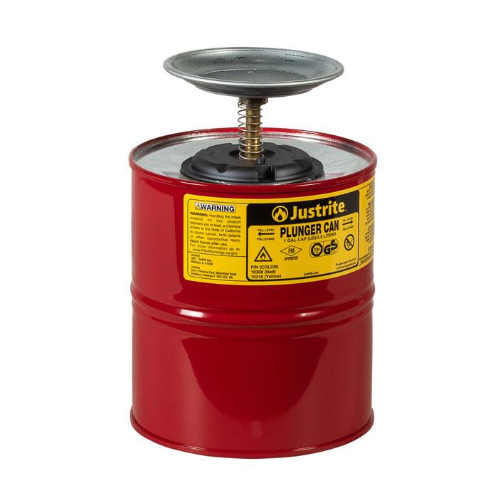 Pojemnik tłokowy stalowy, czerwony 4 l.