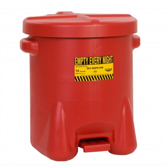 Pojemnik na odpady zaolejone, polietylenowy, dźwignia nożna, czerwony 23 l. FM