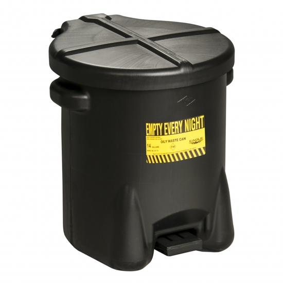 Pojemnik na odpady zaolejone, polietylenowy, dźwignia nożna, czarny 23 l. FM
