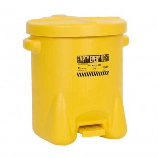 Pojemnik na odpady zaolejone, polietylenowy, dźwignia nożna, żółty 23 l. FM
