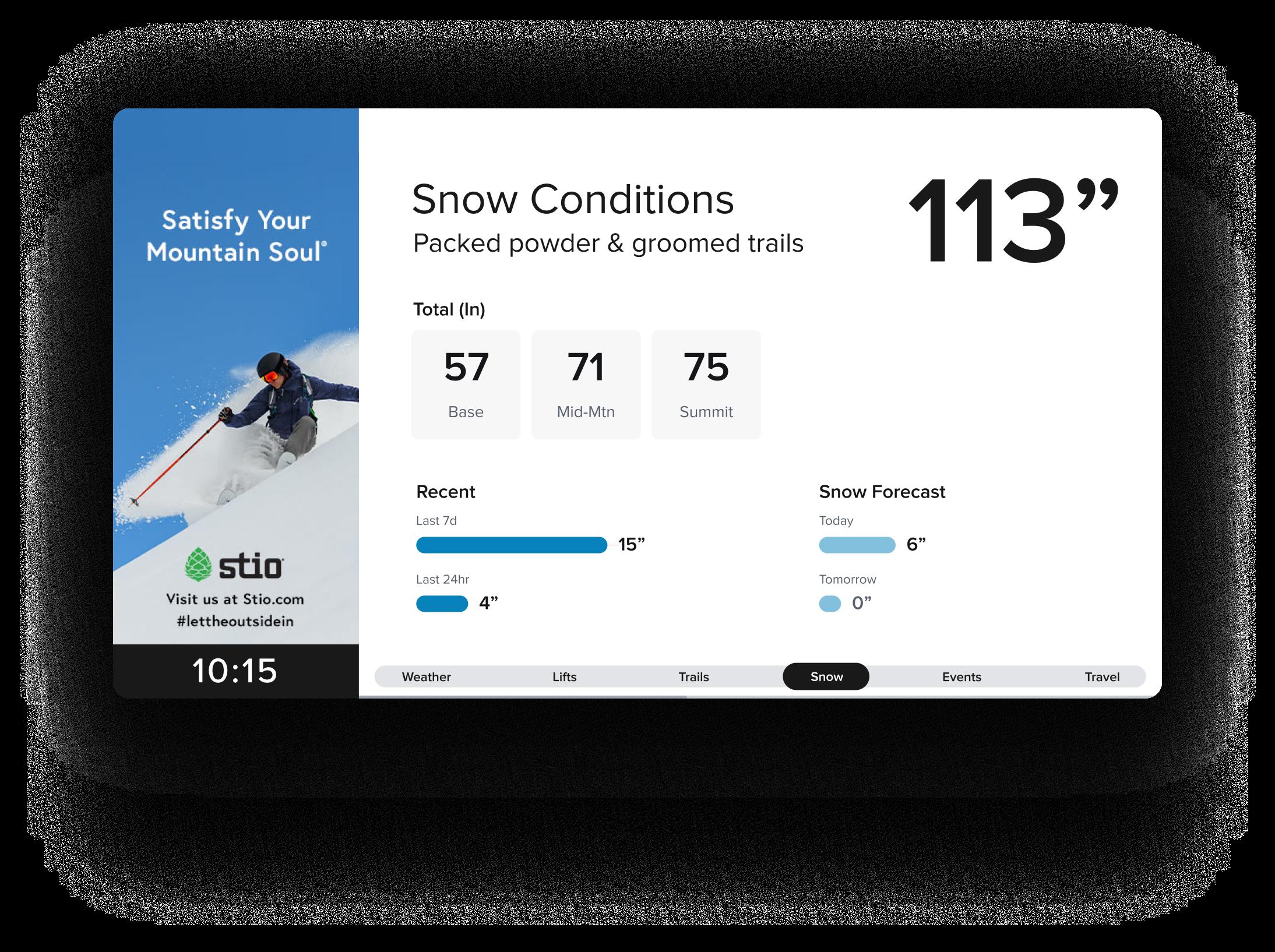 Alpine Media - Winter Park display - Snow Conditions - Stio