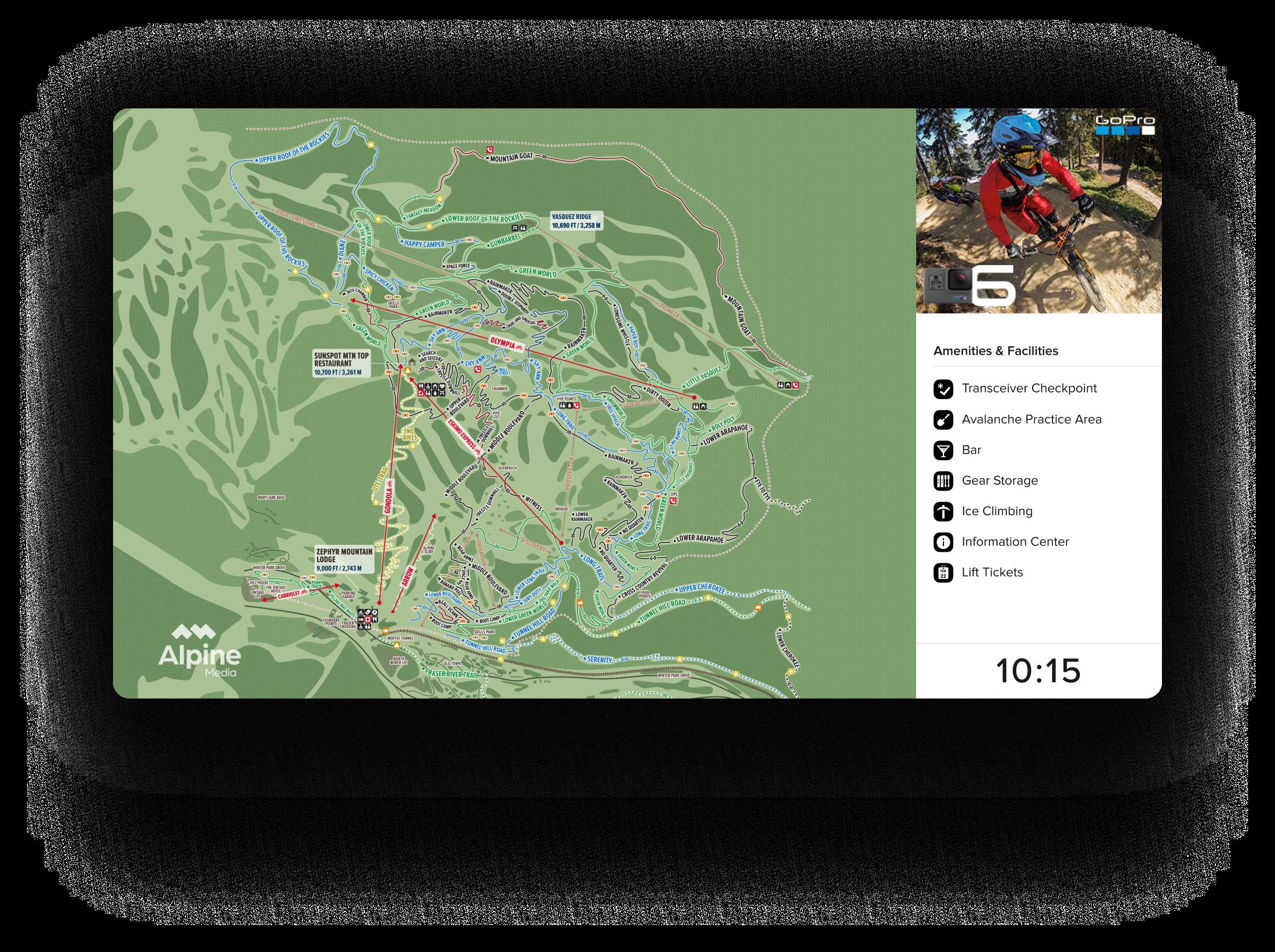 Alpine Media - Winter Park display - Summer Map - GoPro