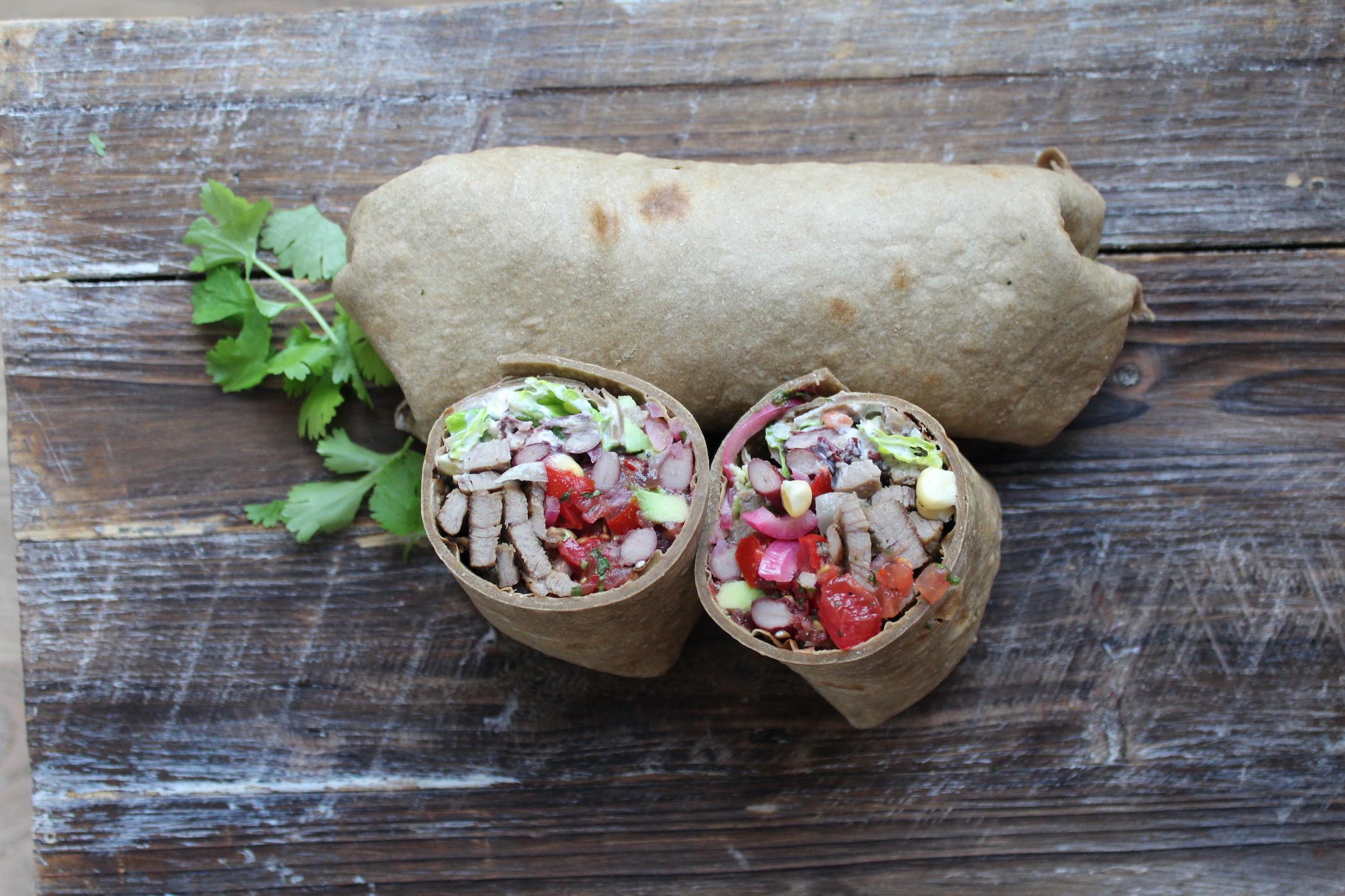 Man cookbook Burrito with Super Grain Flour from IPA