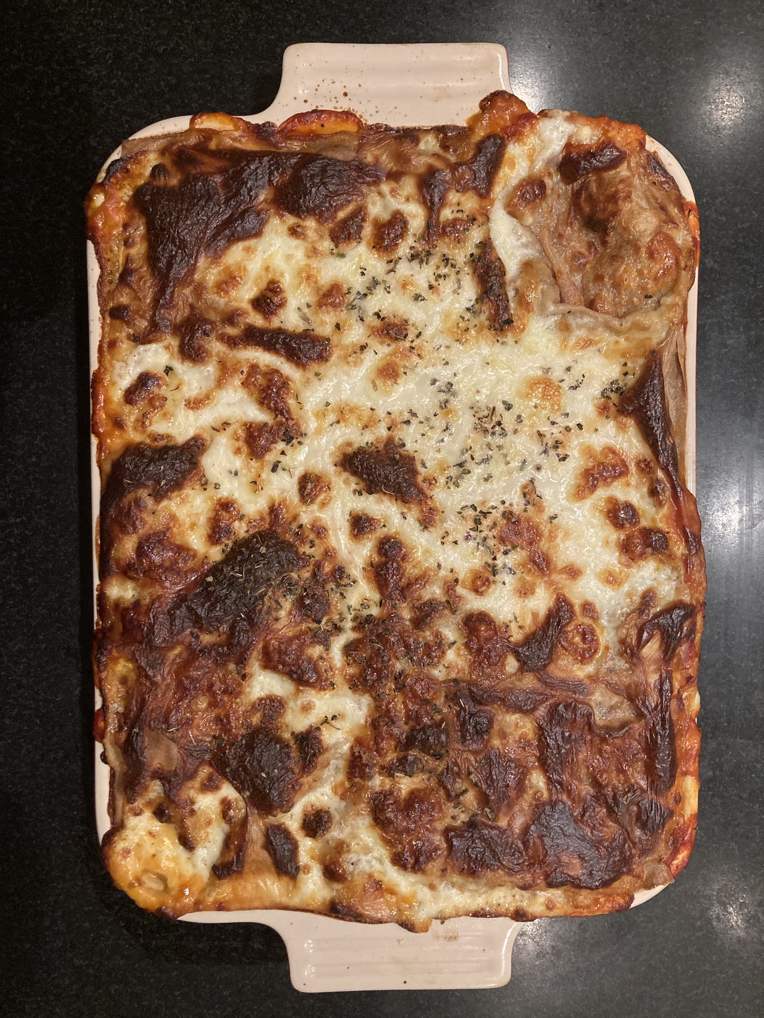 Lasagne with homemade lasagna plates on Super Grain Flour