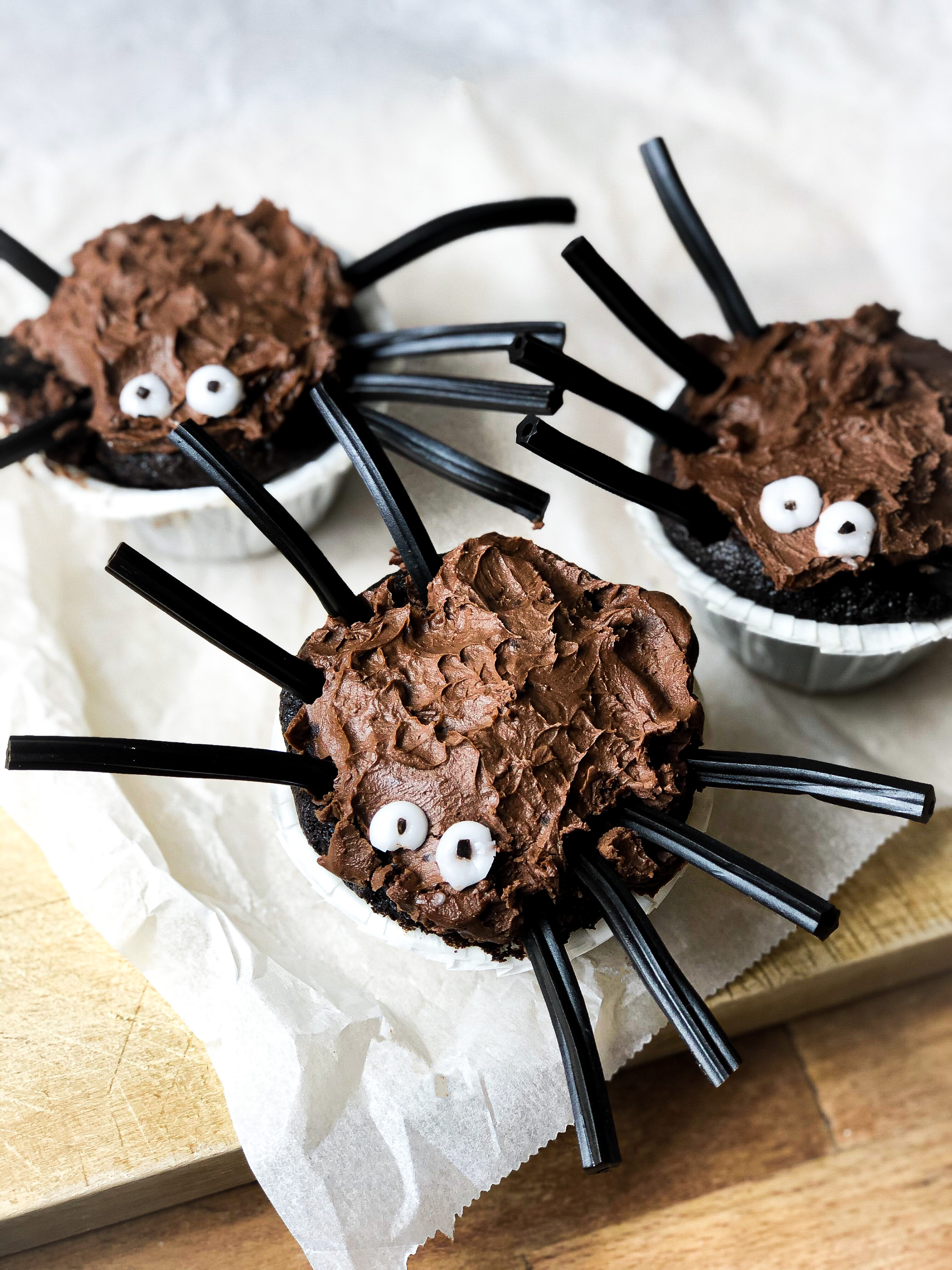 Spider cupcakes with Agrain® 03 Stout Super Grain Flour and salt caramel stuffing