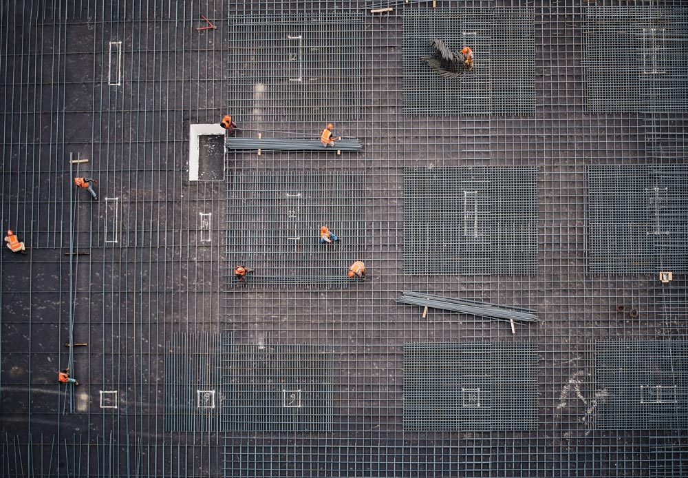 An aerial view of a construction site