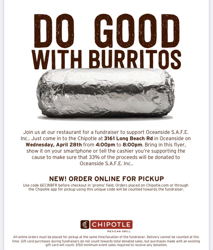 """""""Do Good with Burritos!"""" A Fundraiser for Oceanside SAFE, Inc."""