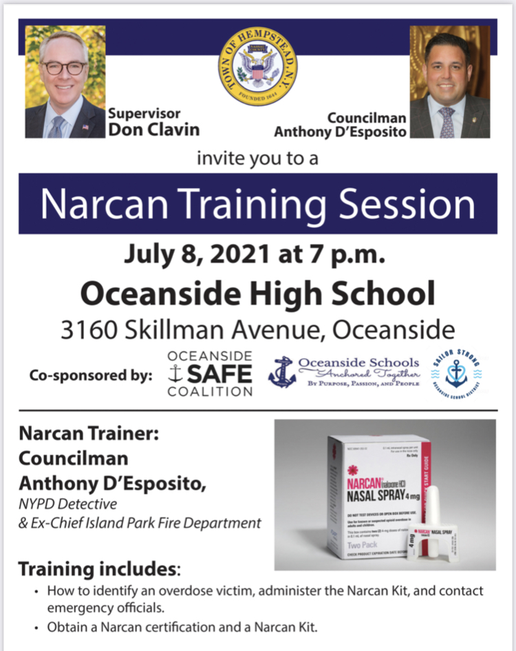 Oceanside SAFE Coalition and Oceanside School District Co-hosts Narcan Training with Councilman D'Esposito / Town of Hempstead