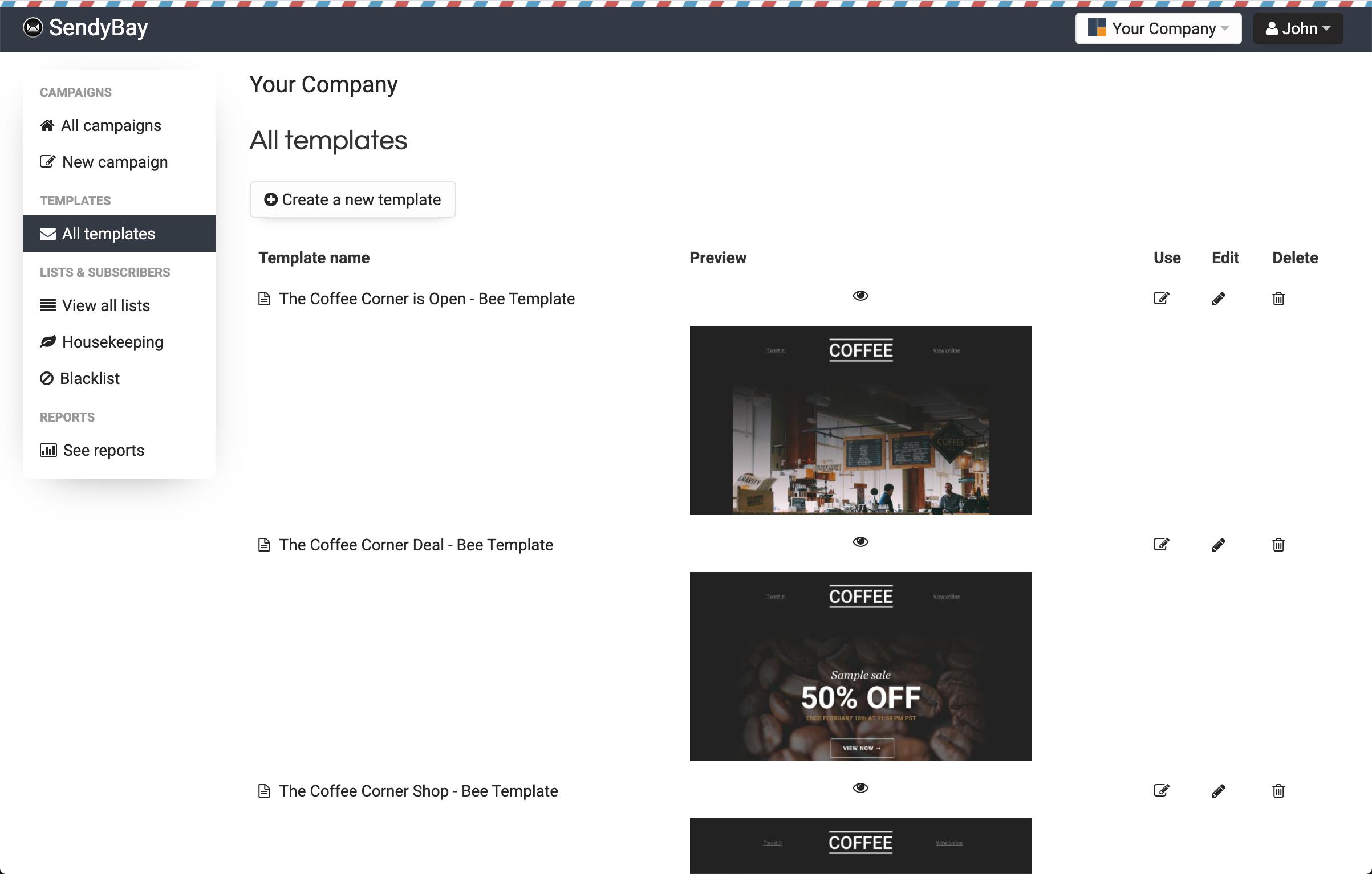 Sendy List Templates Page