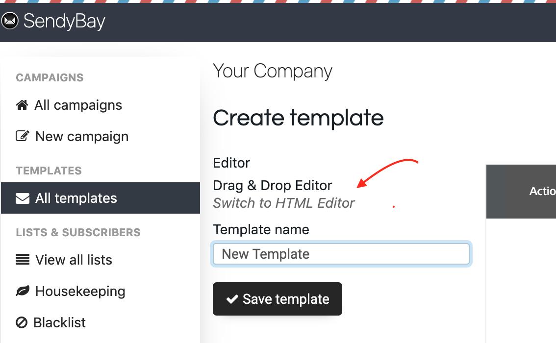 Create new template in Sendy
