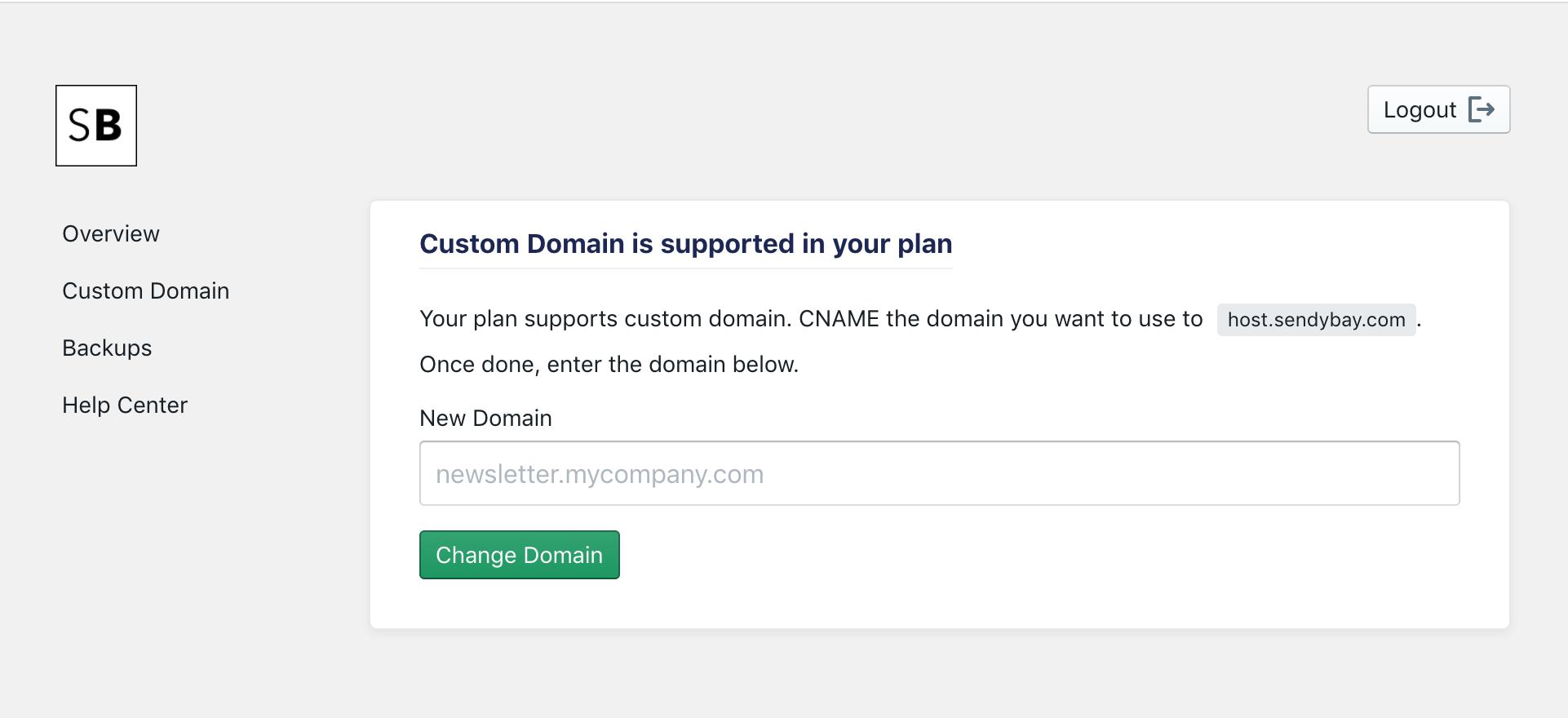 Setup Sendy Custom Domain Form