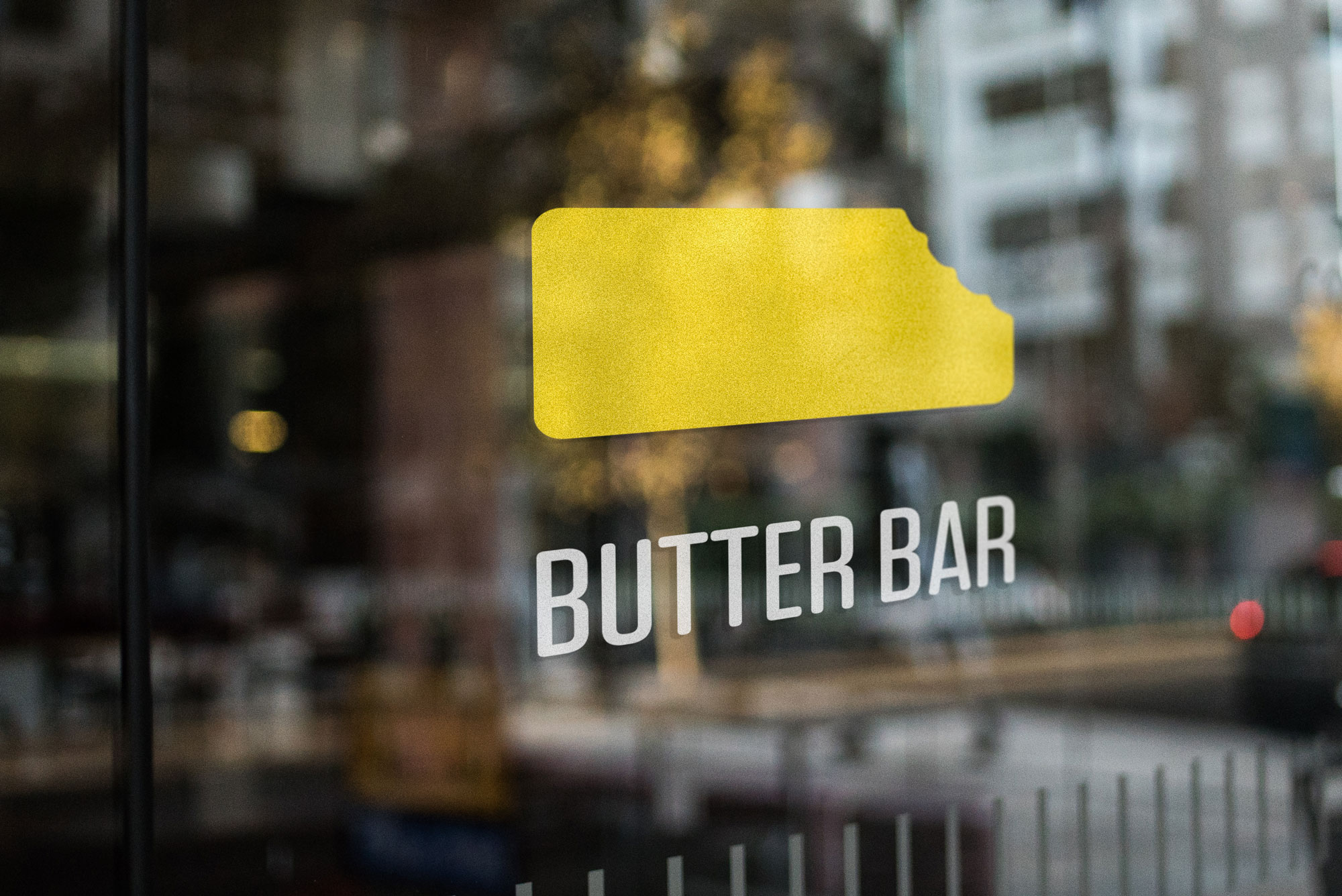 butter bar logo on glass