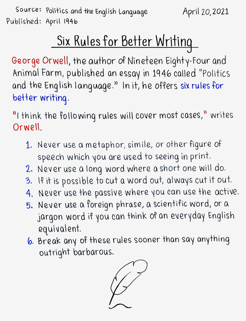 Six Rules for Better Writing