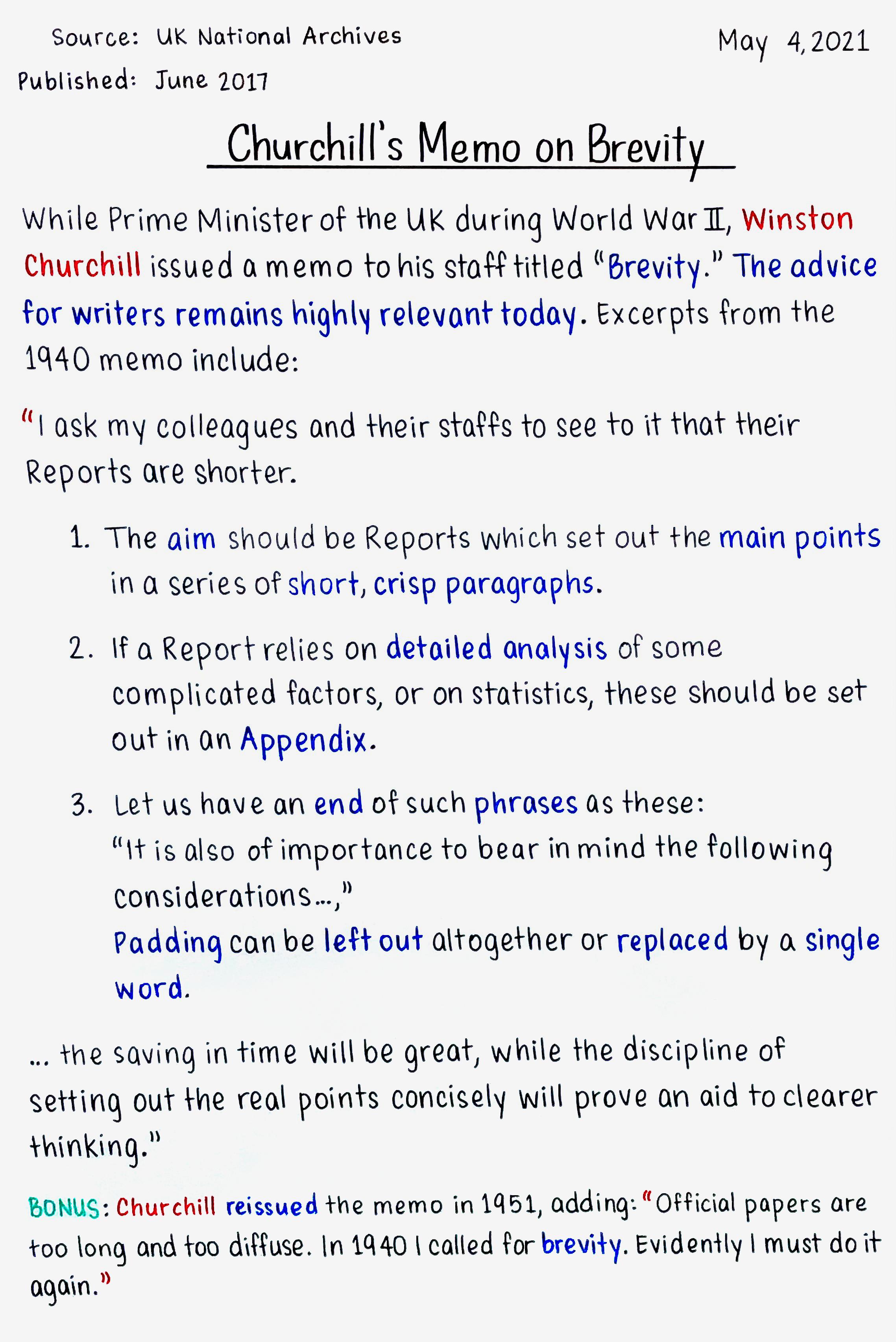 Churchill's Memo on Brevity