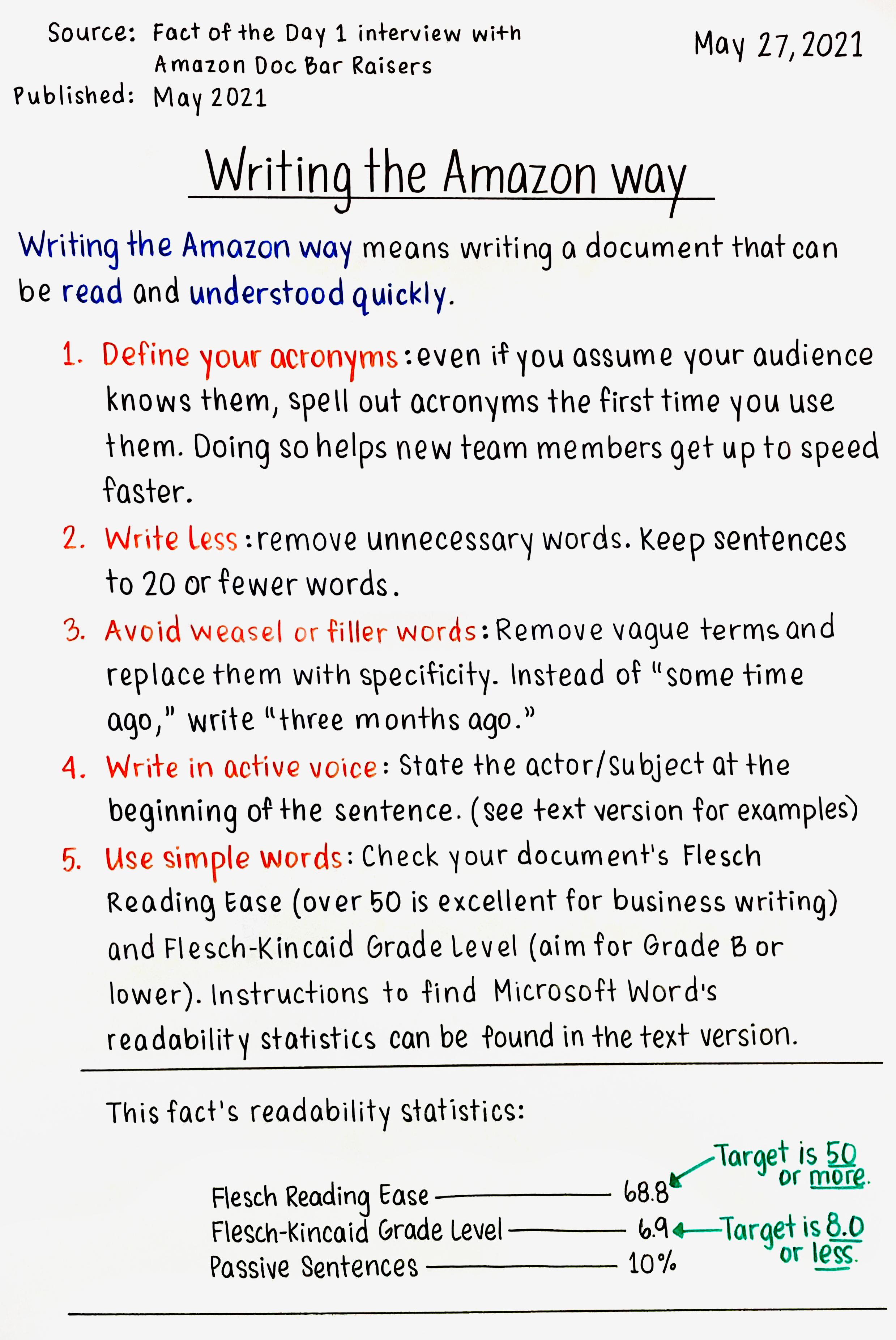 Writing the Amazon way