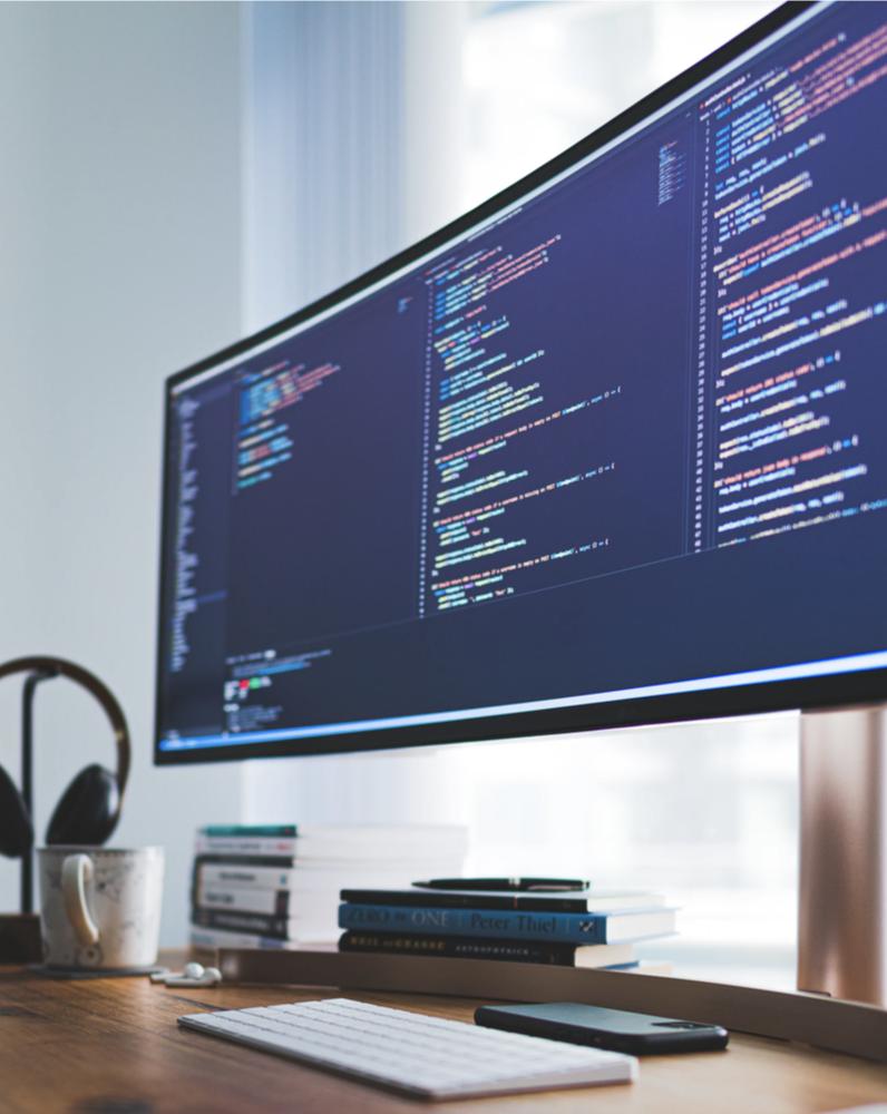 Software Developer Coding at Desk