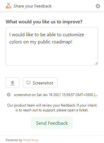 Embeddable feedback widget