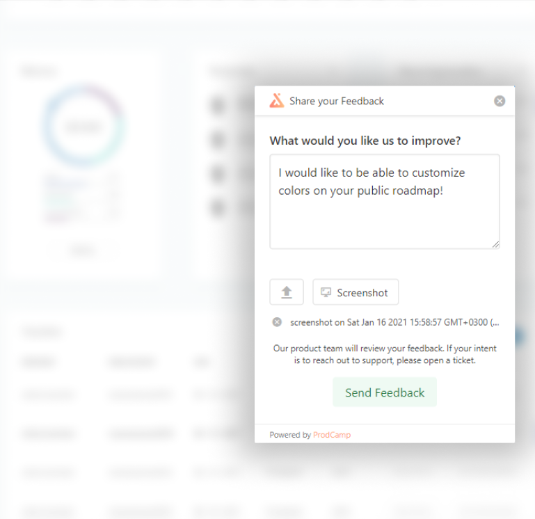 ProdCamp customer feedback widget