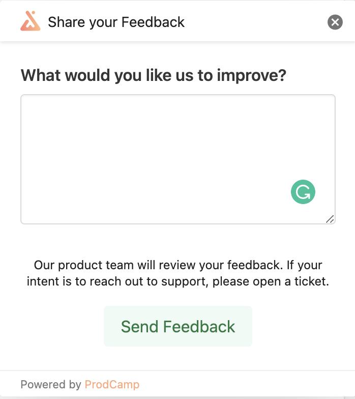 Prodcamp feedback widget