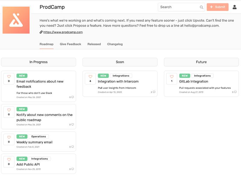 prodcamp public roadmap