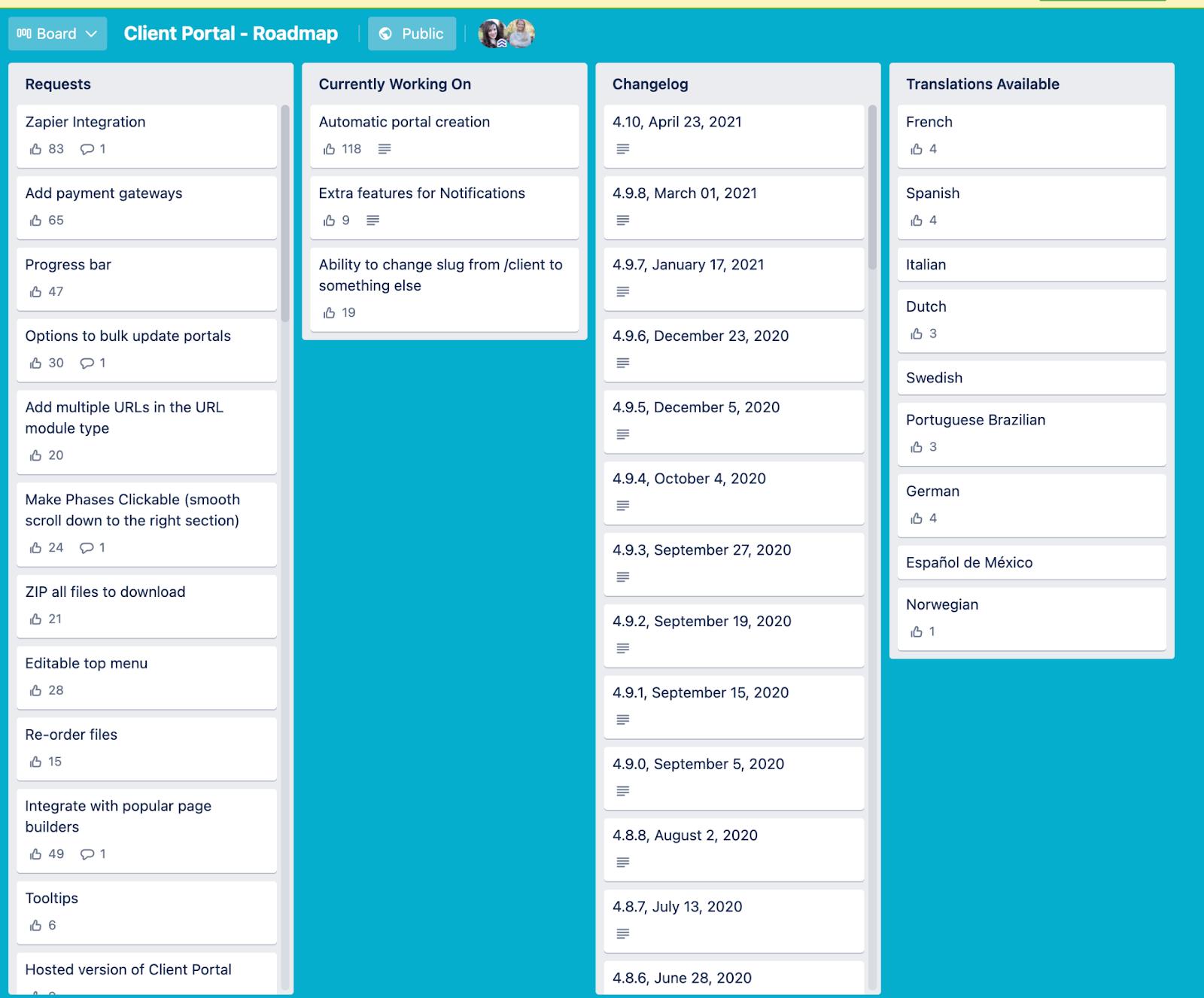 client's portal roadmap
