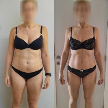 Transformatie van een vrouw met een voor-en na foto.