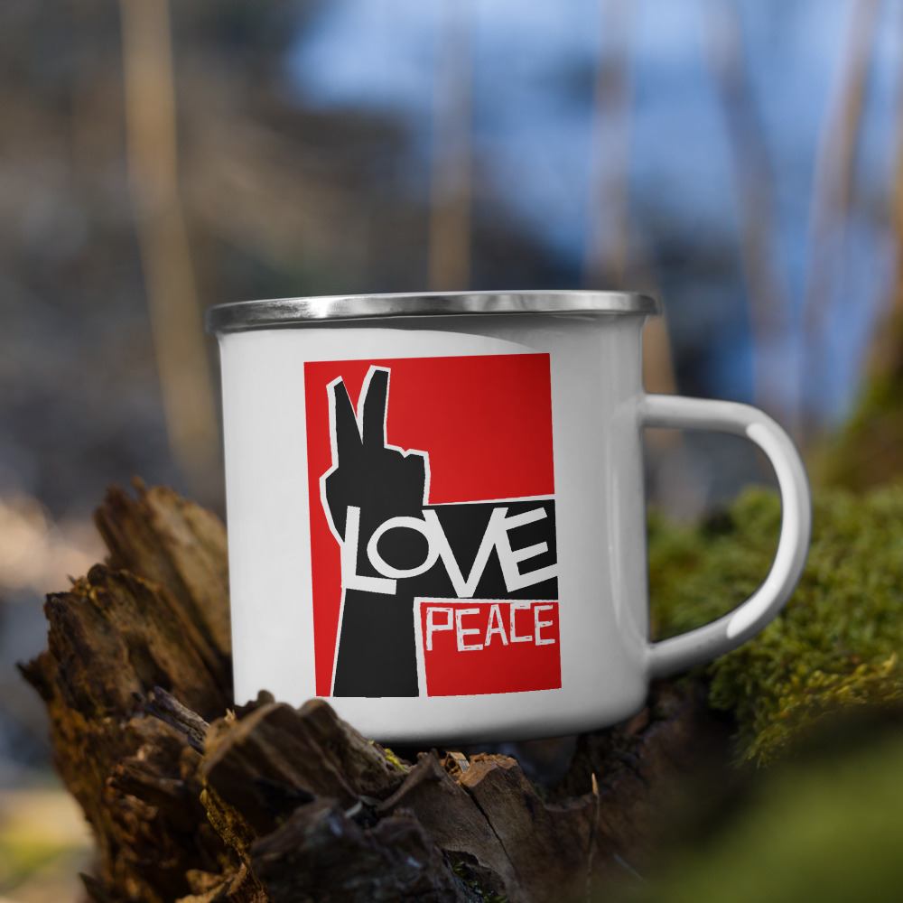 Every happy camper needs a unique camper mug. It's lightweight, durable and multifunctional. Use it for your favorite beverage or a hot meal, and attach it to your bag for easy access on a hike.  • Material: Enamel • Dimensions: height 3.14″ (8 cm), diameter 3.54″(9 cm) • White coating with a silver rim • Hand-wash only • Blank product sourced from China  Attention! Don't heat liquids or food directly in the mug—it can damage the coating.