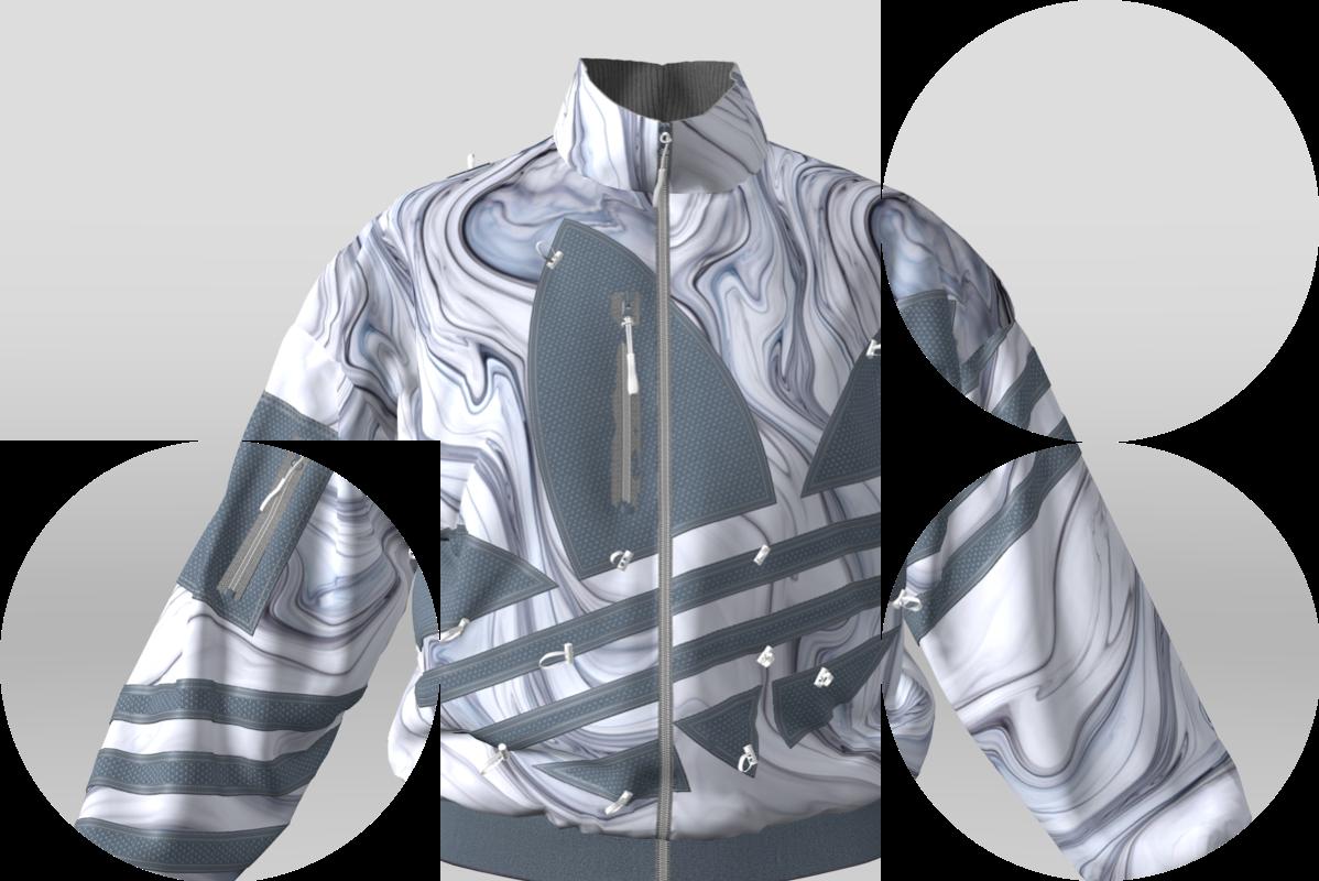 A 3D virtual prototype of an Adidas jumpsuit jacket.